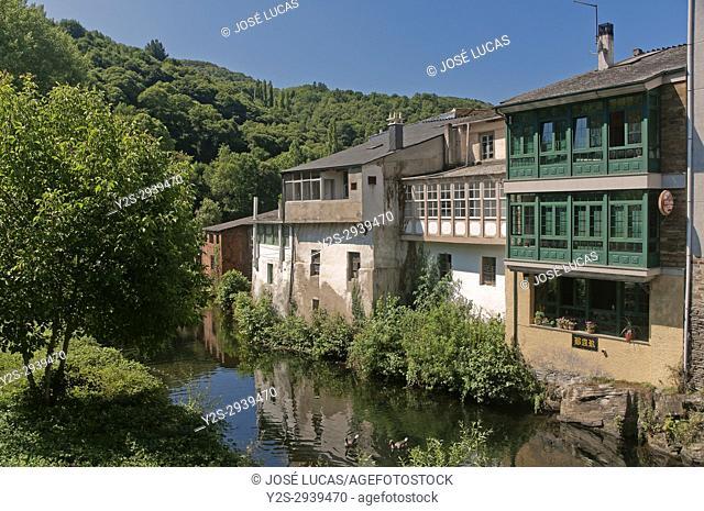 Urban view and Sarria river, Samos, Lugo province, Region of Galicia, Spain, Europe