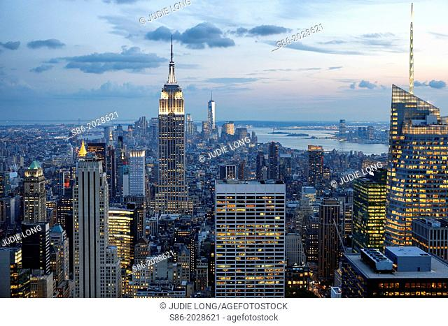 Looking South from Midtown Manhattan at the Empire State Building and Surrounding Area