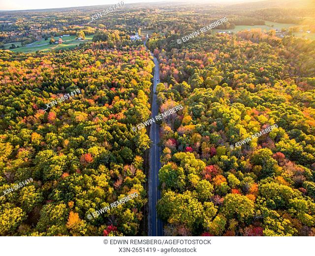 Aerial view of fall foliage near Bradbury Mountain, Maine