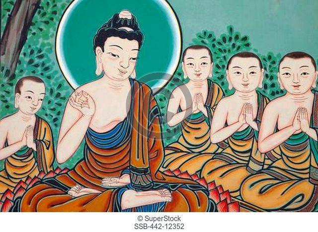 Mural depicting Life of Buddha, Jogyesa Temple, Seoul, South Korea