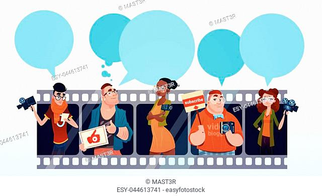People Group Video Blogger Online Stream Blogging Subscribe Concept Flat Vector Illustration