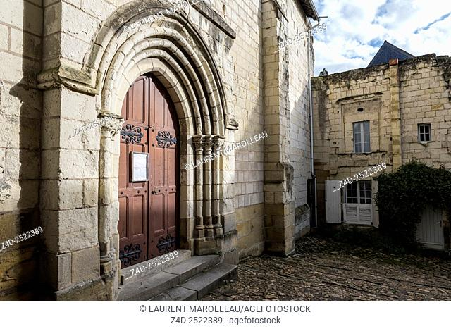 Main Entrance of Saint Maurice Church of Chinon. Indre-et-Loire, Central Region, Loire Valley, France, Europe
