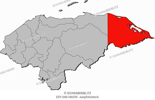Map of Honduras with the provinces, Gracias a Dios is highlighted