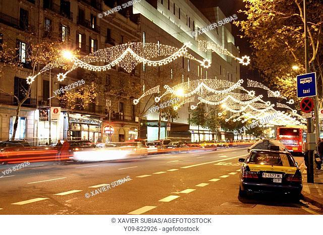 Christmas lights at Ronda de Sant Pere, Barcelona. Catalonia, Spain