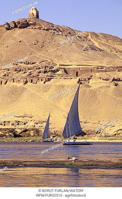 Felucca in front of Aga Khan Mausoleum, Aswan, Egypt
