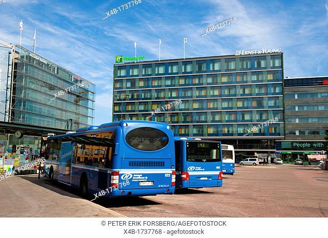 Buses heading to outskirts of Helsinki Espoo and Vantaa at Elielinaukio the Eliel square central Helsinki Finland Europe
