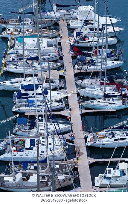 Spain, Canary Islands, La Gomera, San Sebastian de la Gomera, elevated view of the Marina La Gomera