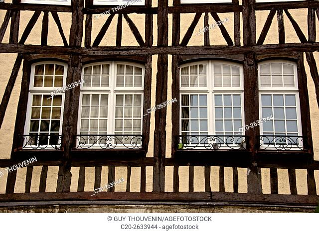 half timbered norman facades, Rouen, 76, Normandy, france