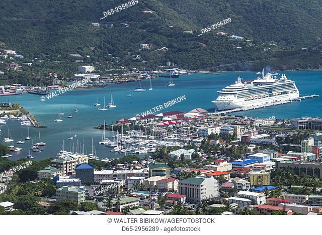 British Virgin Islands, Tortola, Road Town, elevated town view with cruiseship from Joe's Hill