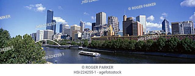 Australia, Victoria, Melbourne, city, city overview, Yarra River, city skyline, skyline, architecture, building, structure, bridge, office block, high-rise