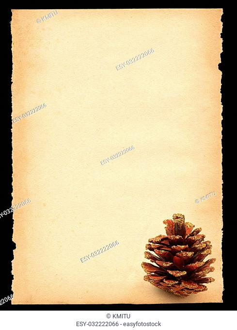 old sheet of paper with cone mitif isolated on black - XXL size