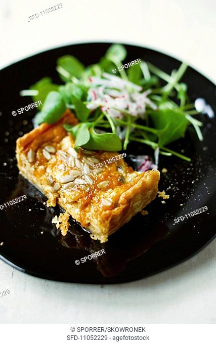 Chees pie with sunflower seed and purslane