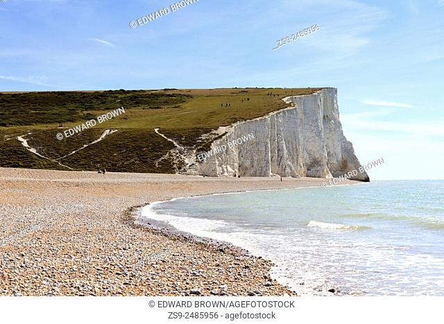 View of the Seven Sisters as seen from the beach at Cuckmere Haven, East Sussex, England, UK. Editorial use only. No releases available
