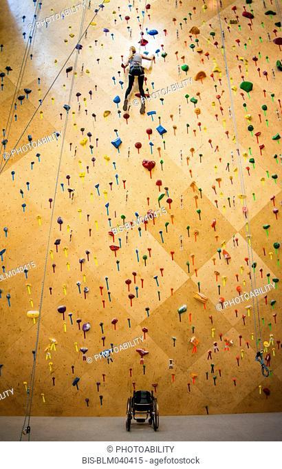 Paraplegic woman rock climbing in gym