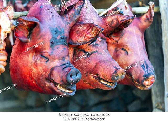 Pig heads, Khonoma Village, Nagaland, India