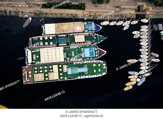 View of cruise boats and feluccas, Aerial View