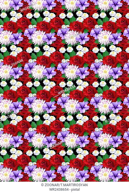 Motley seamless background with roses dahlias aste