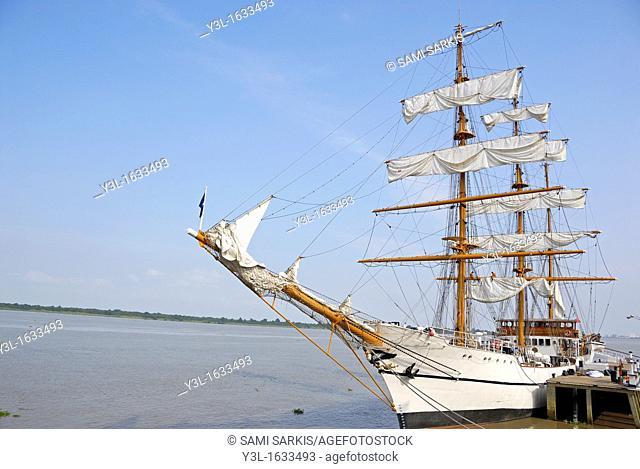 Three-masted sailboat on Guayas river, used as a training ship for Ecuadorian Navy cadets, Guayaquil, Ecuador