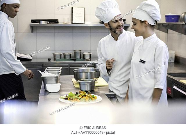 Chefs working together in commercial kitchen