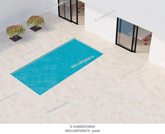 Bright courtyard with pool, 3d rendering