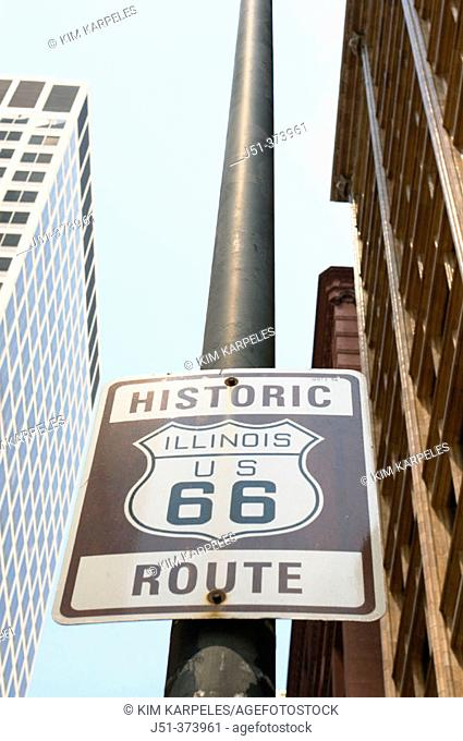 Route 66 historic road marker, near beginning of route. Chicago. Illinois. USA