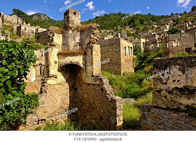 Kayaköy Kayakoy or Karmylassos, an abandoned Greek Village 8km from Fethiye in Turkey whose inhabitants left as part of a population exchange agreement between...