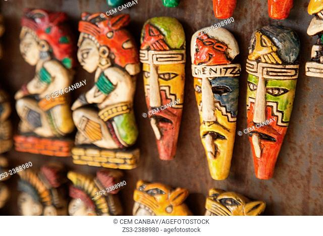 Colorful masks at a shop in Isla Mujeres, Quintana Roo, Yucatan Province, Mexico, Central America