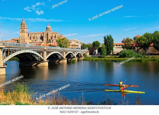 Cathedral and Tormes river, Salamanca, Castilla-Leon, Spain