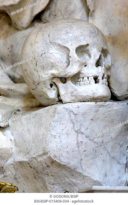 Skull. St. Bruno. Statue. Jacques Sarrazin. 1628. Virgin's chapel. St. Bruno les Chartreux's church. Lyon. France