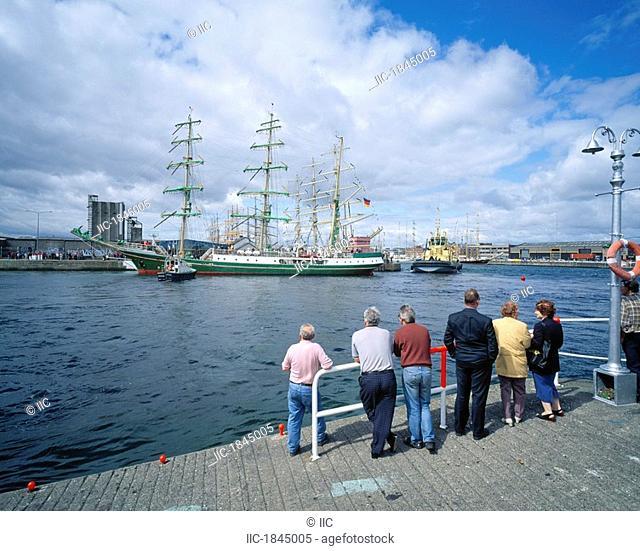 Looking at Tall Ship in Harbor