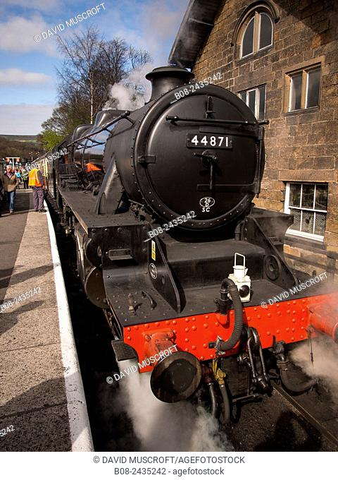 vintage steam locomotive 44871 LMS at Grosmont station,on The North Yorkshire Moors Railway,Yorkshire,UK