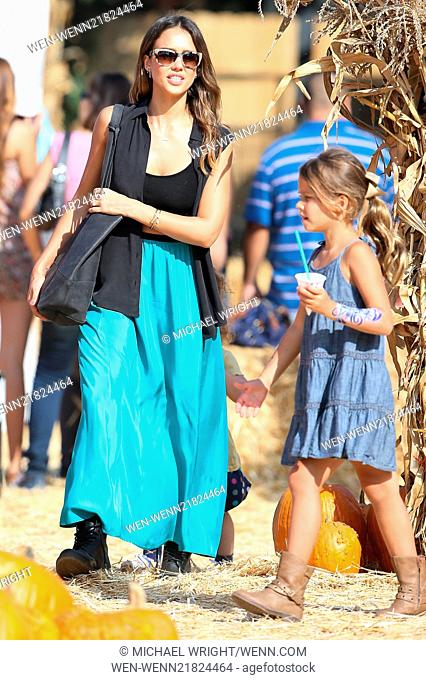 Jessica Alba visits Mr. Bones Pumpkin Patch with her daughters Honor and Haven Featuring: Jessica Alba,Honor Warren Where: Los Angeles, California