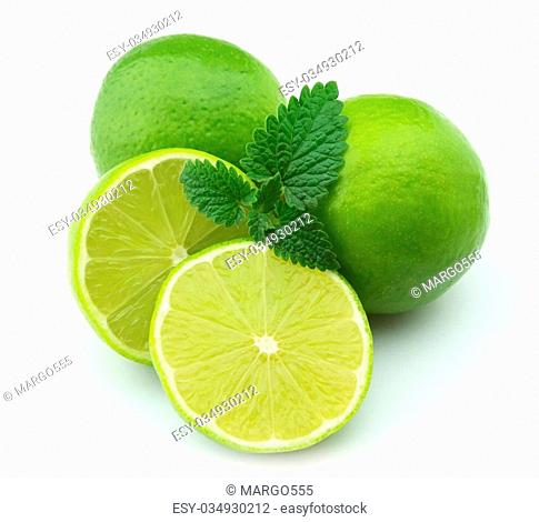 Whole lime and mint white background