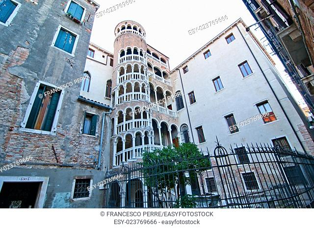 """This Renaissance spiral staircase, built around 1499 by Giovanni Candi, is an elegant structure that is designed like a """"""""bovolo"""""""" Venetian dialect for snail"""