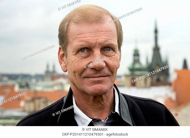 The four-time world rally champion Juha Kankkunen is seen during press conference in Prague, Czech Republic on November 21