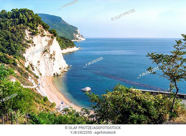 View over the steep coastline at Sirolo, Marche, Italy
