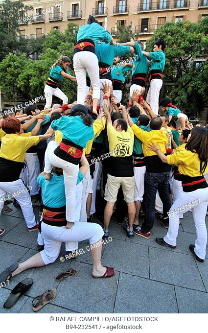 Castellers traditional human towers, Barcelona, Catalonia, Spain