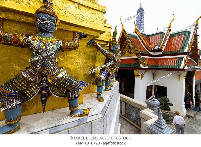 Warriors statues  Wat Phra Kaew or Temple of the Emerald Buddha  Grand Palace  Bangkok, Thailand