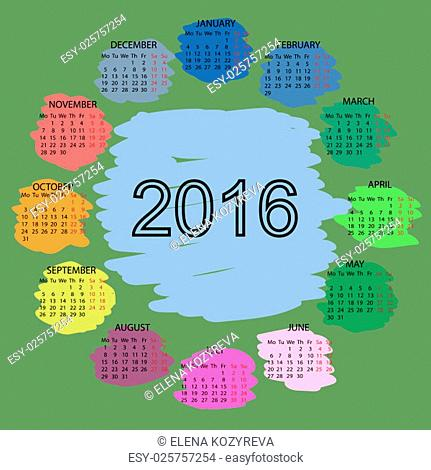 Palette of colors. Simple 2015 year vector calendar design. Week starts with monday