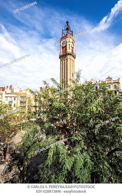 Plaza de la Vila square in Gracia district bohemian area Barcelona Spain