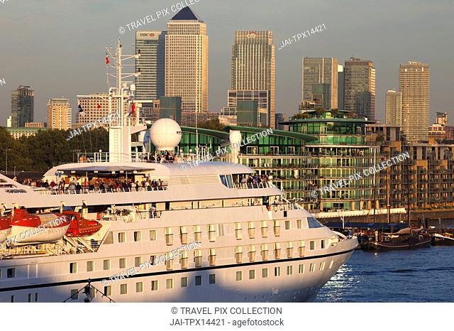 England, London, Cruise Ship and Docklands Skyline