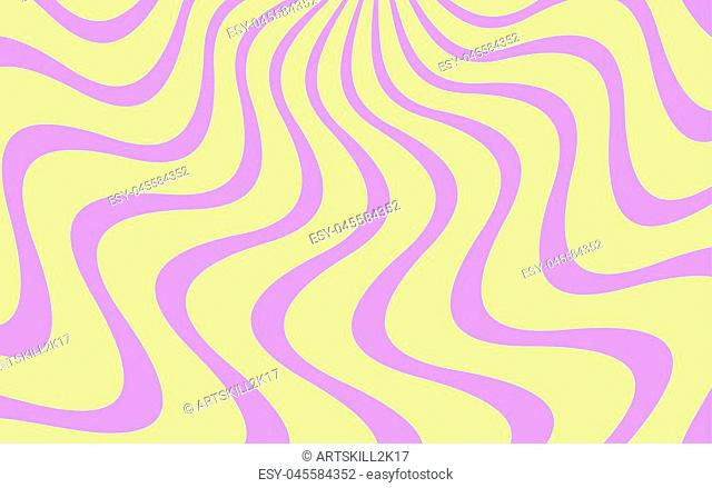 Vector background with Wavy Lines. Simple Background consisting of Stripe Shapes with Liquid effect of soft Color. Yellow and purple