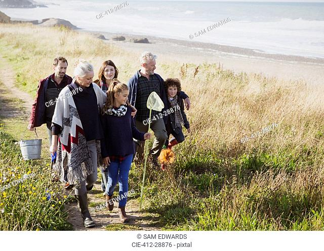 Multi-generation family walking with nets and bucket on sunny grass beach path