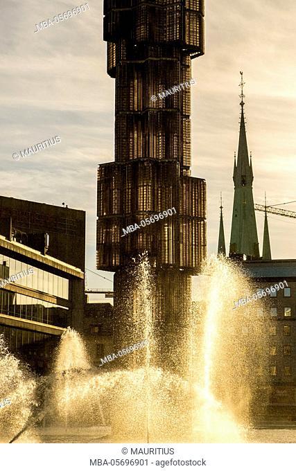 Glass obelisk 'Kristallvertikalacce' in Stockholm, Sweden. The obelisk by sculptor Edvin Ohrstrom was completed in 1974. Stockholm, Sweden
