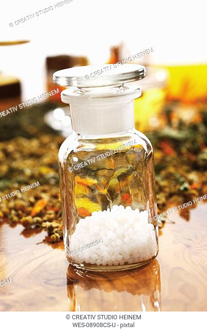 Homoeopathic pills in apothecary flask