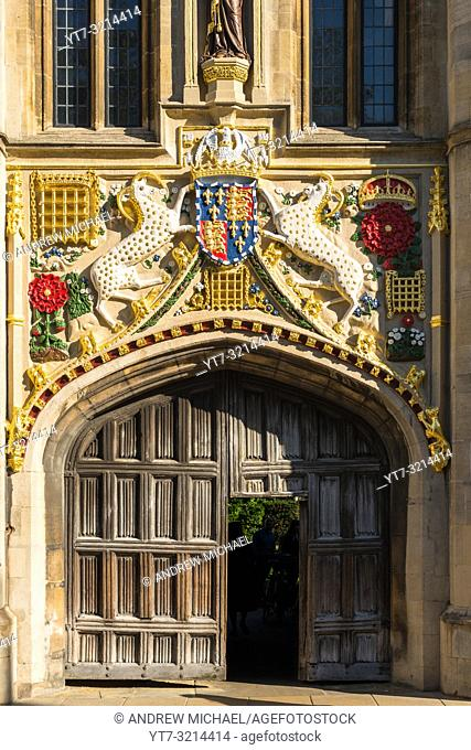 Christ's College's 16th century great gate restored with vibrant colours. Cambridge University. Cambridge. UK