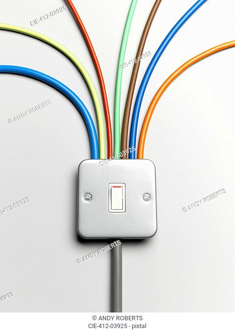 Colorful cords from light switch