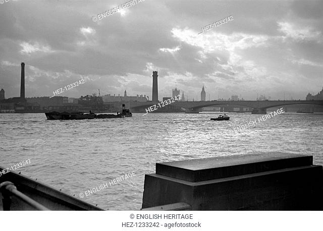 River Thames, Lambeth, London, c1945-1951. A view looking southwards towards Waterloo Bridge and the South Bank. The bridge was built by Rendel