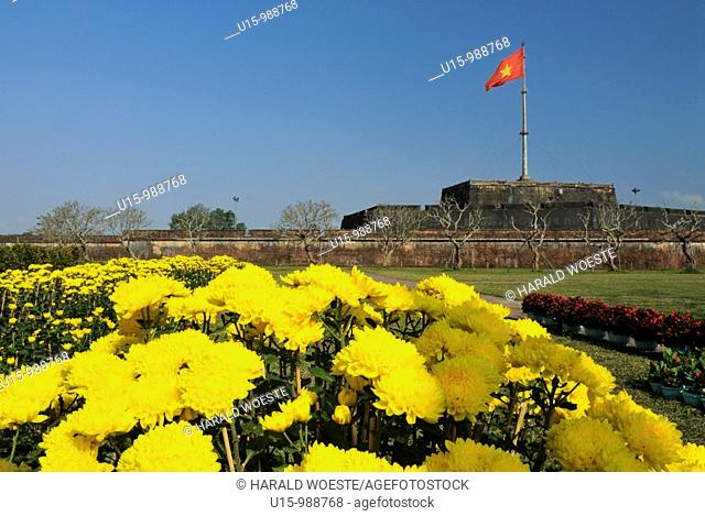 Asia, Vietnam, Hue  Flag tower of the citadel  Designated a UNESCO World Heritage Site in 1993, Hue is honoured for its complex of historic monuments  The seat...