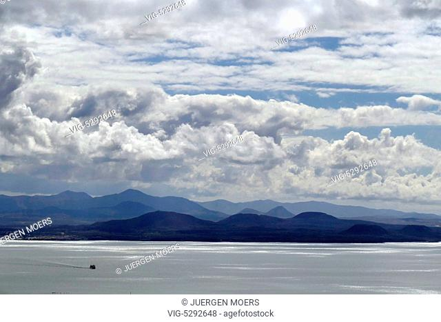 12.02.2015, Spain, ESP, Canary Islands, Lanzarote, Femes, View of neighbor island Fuerteventura and ferry. - Lanza, Spain, 12/02/2015